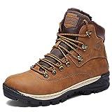 Hombre Botines Zapatos Botas Nieve Invierno Botas Trekking Zapatos Fur Forro Aire Libre Boots,Camello 46 EU