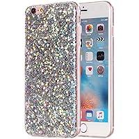 Apple iPhone 6 6S TPU Glitzer-Hülle – Pailletten Glitzer Schutzhülle Case Crystal Case mit Glitzer Bling Bling Uni Design Muster Beschichtung iPhone-6-6S – MOVOJA – Silber