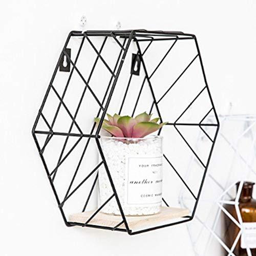 Marco flotante, decoración de pared hexagonal creativa combinación moderna decoración de pared sala de estar estante geométrico, decoración de pared Nórdica estante de almacenamiento