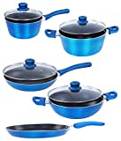 Nirlon Induction Based Bakelite, Nonstick, Aluminum Cookware Set 28 Cm , 24 Cm , 24 Cm , 24 Cm , 18 Cm ,9-Pieces,Blue