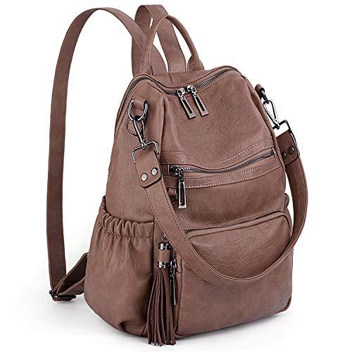 Leder-reißverschluss-vordere Tasche (UTO Damen Rucksack Geldbörse PU Washed Leder Cabrio Damen Rucksack Quaste Reißverschluss Tasche Schultertasche Khaki)