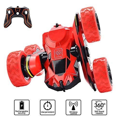 PUZ Toy RC Stunt Auto Ferngesteuertes Auto für Kinder ab 5 Jahre 2.4Ghz Ferngesteuertes Rennauto 12KMH Schnelle Geschwindigkeit 360 ° Drehung Off Road LKW Fernbedienung Spielzeug Rot -