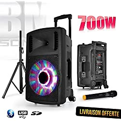 "Enceinte sono karaoke mobile FUZZY 12 LED autonome 12"" - BLUETOOTH/USB/SD - 700W - Boomer à LEDs RVB + Micro VHF + Pied + Télécommande"