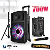 Enceinte sono karaoke mobile FUZZY 12 LED autonome 12' - BLUETOOTH/USB/SD - 700W - Boomer à LEDs RVB + Micro VHF + Pied + Télécommande