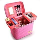 Custodia cosmetica ad alta capacità Borsa cosmetica Rosa Materiale PU Contenitore multifunzionale Contenitore portatile 25 * 17 * 18CM Organizzazione interni