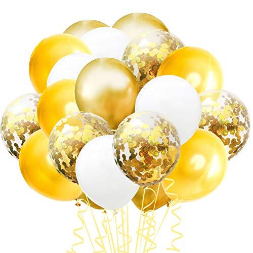 TOPWINRR 60 Stück Helium Party Ballon Hochzeit Deko Luftballons Geburtstag Kinder Latex Konfetti Ballons Dekoration, Goldene Hellgoldene Weiß - Kinder-goldenen Geburtstag