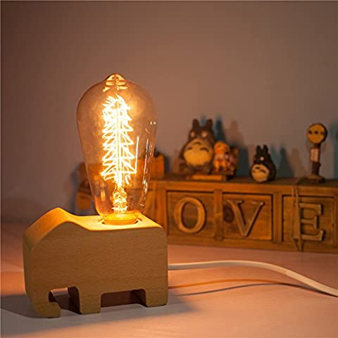 HROOME Modern Art Decoration Wooden Deer Elephant Dolphin Animal Dimmable Desk Table Lamps with E27 Filament Edison Bulb Dimming Switch Control for Bedroom Christmas