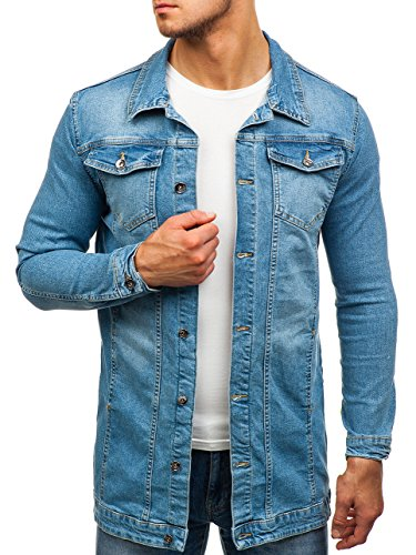 BOLF Herren Jeansjacke Jacke Übergangsjacke Casual Basic Täglicher Stil Otantik 2020 Blau S [4D4] | 05902646841038