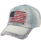 UFACE CAPS UFACE Cowboy-Baseballmütze Hohe Qualität Cowboy Hip-Hop-Baseballmütze voller Diamant flache Hysteresenhut (C)