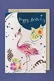 Geburtstag Karte Grußkarte Handmade Applikationen Flamingo 17x11cm