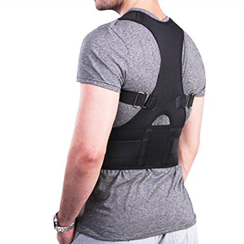 FEESHOW Soporte Faja Para la Espalda Faja para Corregir la Postura de la Columna Corrector de Espalda para Aliviar Dolor Lumbar Negro M