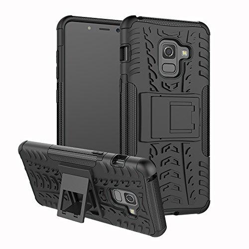 betterfon | Outdoor Handy Tasche Hybrid Case Schutz Hülle Panzer TPU Silikon Hard Cover Bumper für Samsung Galaxy A8+ 2018 Schwarz