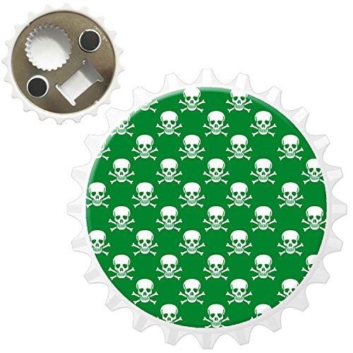 Pirat Totenkopf & gekreuzte Knochen Grün Kühlschrankmagnet mit Flaschenöffner (Piraten-flaschenöffner)