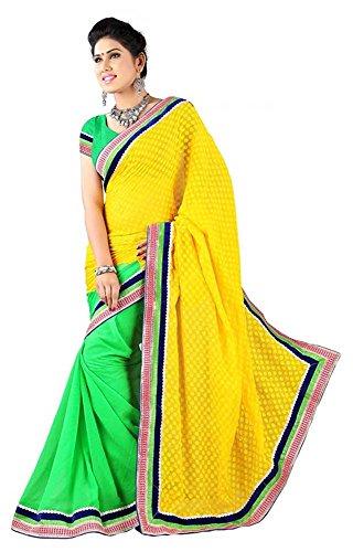 Raghavjee Sarees Women's Brocade & Georgette Saree