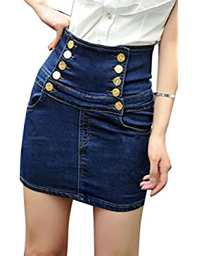 La Mujer Es Elegante Cintura Alta Falda Bodycon Mini Plus Size Denim