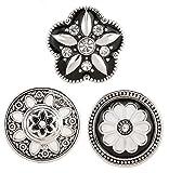 Morella® Damen Click-Button Set 3 Stück Druckknöpfe Blume Schwarz - Weiß