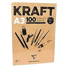 Clairefontaine 96546C Blocco Incollato Kraft, A3, 100 Fogli, Marrone, Carta, 29,7x42