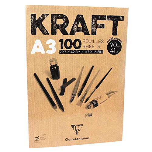 Clairefontaine Bloc de Papel Kraft, Color marrón, Blanco, 90g