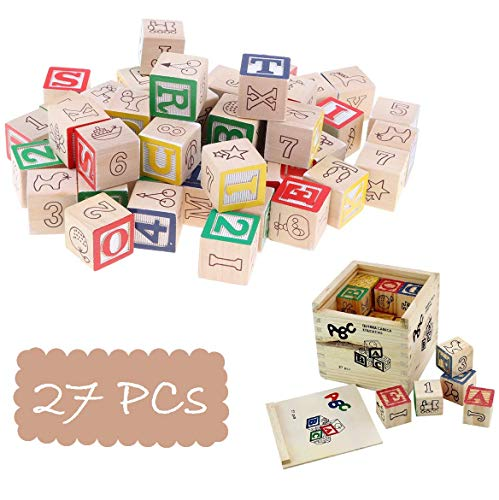 Blossom (27PCs) Wooden Blocks Letters Alphabets Numbers/ ABC 123 Animals Fruits Learning Counting Toy with Box Storage Case