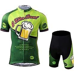 Thriller Rider Sports® Hombre I Like Beer Deportes y Aire Libre Maillot Manga Corta de Ciclismo y Pantalones Cortos Traje 3X-Large