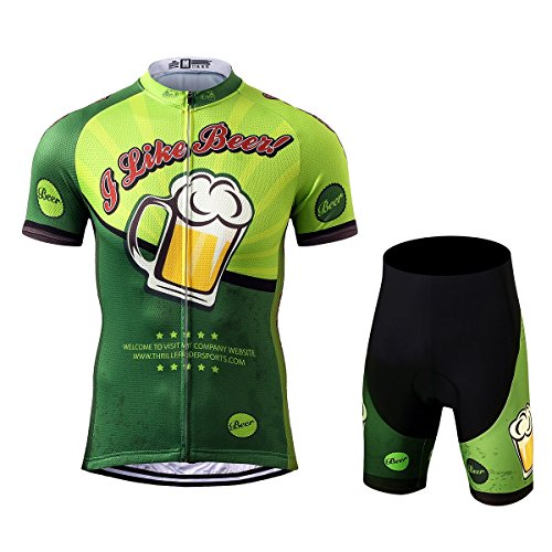 Thriller Rider Sports® Mens Outdoor Sports MTB Short Sleeve Cycling Jersey and Shorts Suit