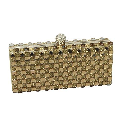 GSHGA Womens Clutch Taschen Glas Strass Handtasche Abend Geldbörse,Gold