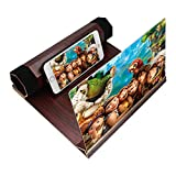 Universal Handy 3D Bildschirm Lupe Smartphone Lupe, 12 Inch Portable Handy Bildschirm 3D Lupe zusammenklappbar Handy Projektor Smartphone Vergrößerungslupe HD Verstärker Vergrößern Ständer (Weinrot)