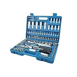 Tianfeng Tools – Valigetta con vasta gamma di 108 pezzi di chiavi bussola ed accessori, azzurro