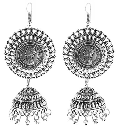 YouBella Jewellery German Silver Oxidised Fancy Party Wear Victoria Coin Jhumki Earrings for Girls and Women  available at amazon for Rs.299