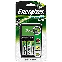 Energizer Maxi AA/AAA - Pack de pilas y cargador (4 x AA, 2000 mAh), negro