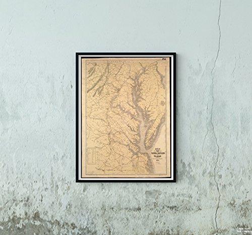 Delaware Rivers Map (New York Map Company LLC 1861 Karte Mittlere Atlantikkarte von Teil von Virginia, Maryland und Delaware von The Best Authories Anothe - Historische Antike Vintage-Nachdruck, fertig zum Einrahmen)