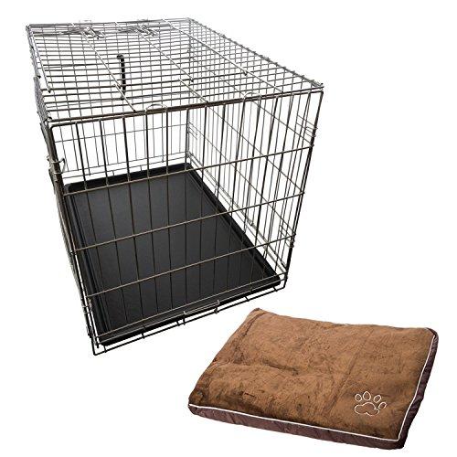 Nemaxx Transportbox Transportkäfig Drahtkäfig Klappbar Hundebox Hundekäfig Käfig Größe L in Silber + Kissen