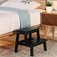HOUCHICS 2 Steps Stool Wood Countertops Stool, Multipurpose Stepladder Stool for Bedroom/Bathroom/Toilet/Kitchen etc. with Safety Non-Slip Pads (Black)