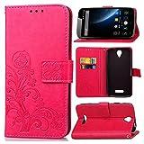 Guran® PU Ledertasche Case für Doogee X6 / X6 Pro Smartphone Flip Cover Brieftasche und Stent Funktionen Hülle Glücksklee Muster Design Schutzhülle - Rose rot