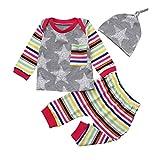 Neugeborene Kleidung Longra 2 Stück Kleinkind Baby Junge Mädchen Kleider Set Lange Hülse Stern t-shirt Tops Streifen Hose Hut Kleidung Set Outfits (Gray, 100CM 18Monate)