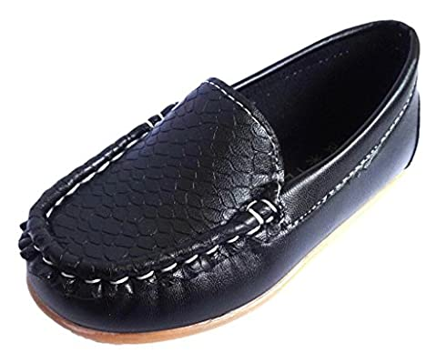 Femizee Kid Boys Girls Casual Dress Slip On Moccasin PU Leather Loafer Shoes,Black,12 UK Child