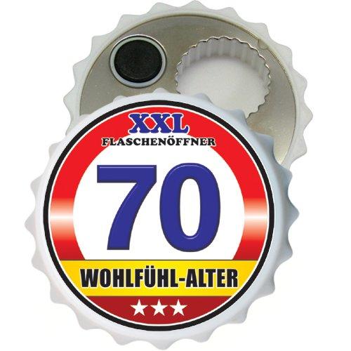 öffner Kapselöffner Flaschenöffner Bier Öffner sehr robust mit Hochglanz Etikett für Männer Männergeschenke verschiedene Anlässe (Zum 70. Geburtstag Wohlfühl Alter 32069) ()