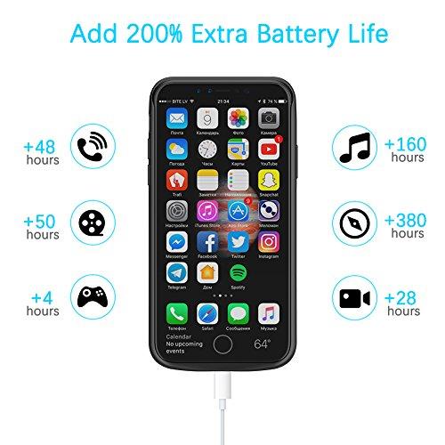 iPhone X Custodia Batteria, FugouSell iPhone 10 Slim Battery Esterno Case Cover 3600mAh Portatile Rechargeable Power Batteria Backup Caricabatterie Telefono Accessori Nero Nero 1
