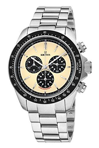 KRONOS - Vintage Sport Chronograph Desert 985.8.35 - Reloj de Caballero de Cuarzo, Brazalete de Acero...