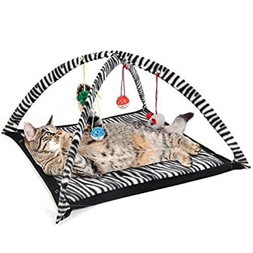 Dooret Katze-Spiel-Zelt mit hängendem Spielzeug Ball Katzenbett Zelt Kitten Mat Exercise Activity Spieldecke Tragbare Pet Supplies -
