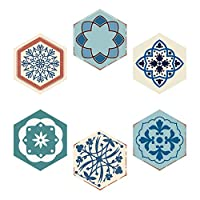 iShine 6pcs Tile Sticker WaterproofMoroccanStyle Wall Stickers Adhesive GravelPattern Wall Decor for Bedroom Kitchen