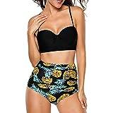Bikini Mujer Push Up 2019 Bikinis de Cintura Alta Sexy Traje de Baño de Dos Piezas Retro de Playa Bohemia Acolchado Bañador vikinis brasileño Conjunto Tallas Grandes Biquini Ropa
