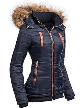 Navahoo Alina–Chaquetón para mujer, con capucha con amplio ribete de piel sintética