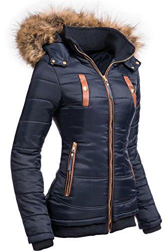Navahoo Damen Jacke Winterjacke Steppjacke Alina (vegan hergestellt) Dunkelblau Gr. XS