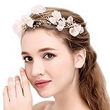 Braut Rosa Blüten Stirnbänder Perlen Strass Handgemacht Hochzeit Haarschmuck
