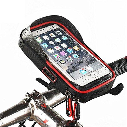ele ELEOPTION Fahrrad Lenkertaschen,Handy Halterung,Wasserdicht MTB Rahmentasche TPU Sensitive Touch-Screen für Alle Smartphone unter 6 Zoll z.B. iPhone X iPhone 8/8 Plus Samsumg S8 S9(Schwarz+Rot)