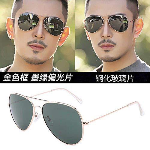 CFLFDC Sonnenbrillen Temperierte Glasbrille Sonnenbrille Männliche Fahrer Polarisierende Brille Polarisierende Fahrt Gold-Frame dunkelgrüne Tabletten (Glaslinsen)