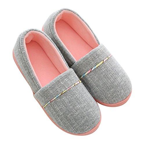 Pantofole di cotone per donna - antiscivolo scarpe chiuse ciabatte invernali da pingenaneer l/39-40 grigio