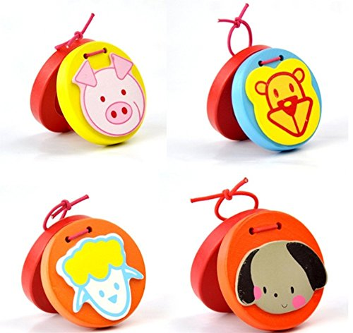 Leisial 7 Pcs Kids Wooden Castanet Musical Percussion Instrument for Children Toy Gift Early Learing Education 0 5CM  Random Color