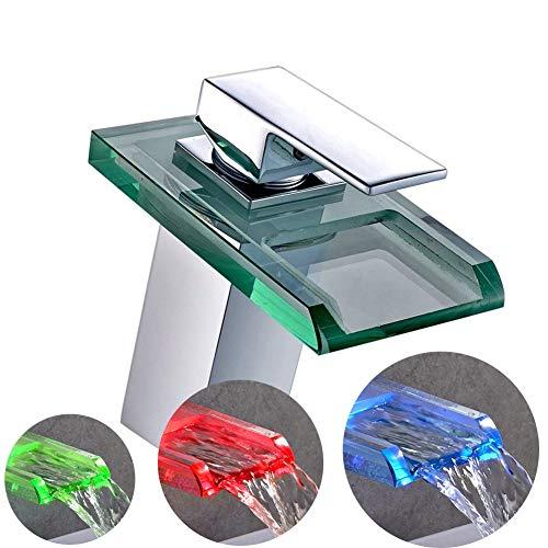 RGB LED Glas Wasserfall Armatur,Waschtischarmatur Wasserfall Waschbecken Armatur Wasserhahn Spültischarmatur Kupfer Mischbatterie Waschbeckenarmatur (Waschbecken Wasserhahn Led)